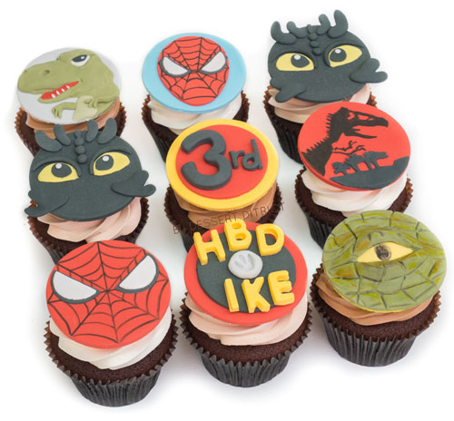 Dragon Dinosuar Spiderman Cupcake