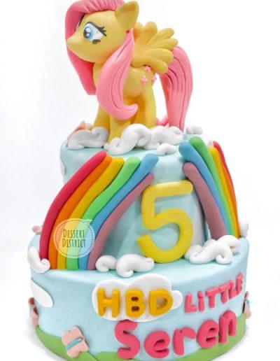 Flattershy 2-tier fonant cake