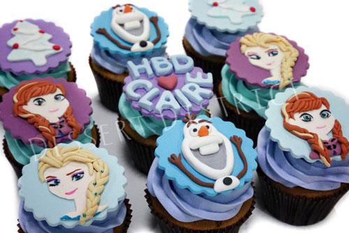 Frozen Elsa Olaf Anna cupcake