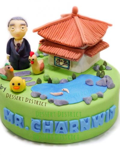 Granpa and Chinese pagoda in the garden cake