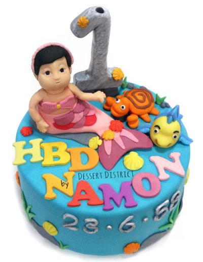 Little mermaid fondant 1st birthday cake