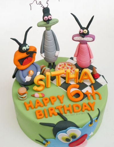 Oggy and Cockroaches Fondant Cake