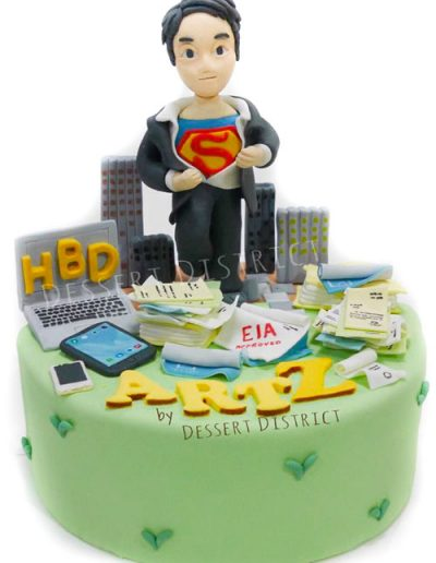 Superman in working suit fondant cake